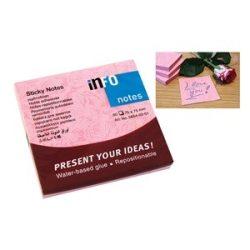 Öntapadós jegyzettömb Info Notes 75x75 mm 80 lapos rózsa minta