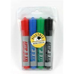 """Flipchart marker készlet, 1-3 mm, kúpos, ICO """"Artip 11 XXL"""", 4 különböző szín"""