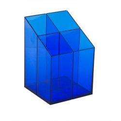 Írószertartó, ICO, áttetsző kék
