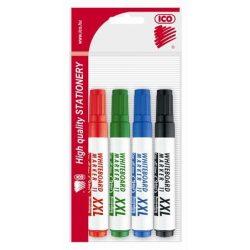 """Tábla- és flipchart marker készlet, 1-3 mm, kúpos, ICO """"Plan 11 XXL"""", 4 különböző szín"""