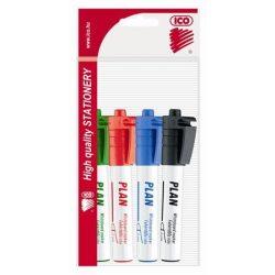 """Tábla- és flipchart marker készlet, 1-3 mm, kúpos, ICO """"Plan"""", 4 különböző szín"""