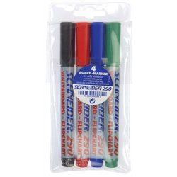 """Tábla- és flipchart marker készlet, 1-3 mm, kúpos, SCHNEIDER """"Maxx 290"""", 4 különböző szín"""